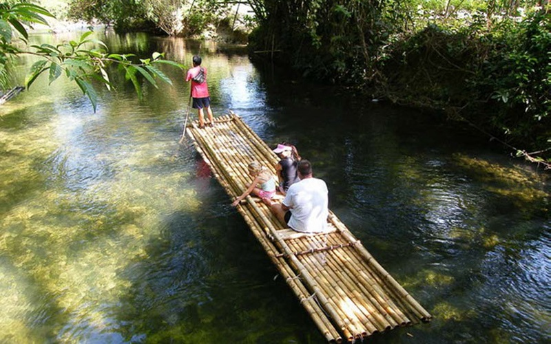 Khao Lak Safari + Bamboo Rafting Tour by Air-Con Minibus